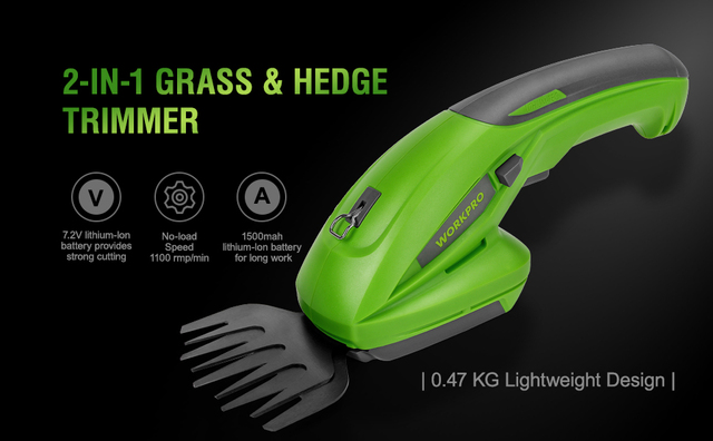WORKPRO 7.2V Electric Trimmer 2 in 1 Lithium-ion Cordless Garden Tools Hedge Trimmer Rechargeable Hedge Trimmers for Grass 1
