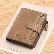 цена Men's short leather wallet first layer cowhide trend fashion casual wallet wallet driver's license wallet онлайн в 2017 году