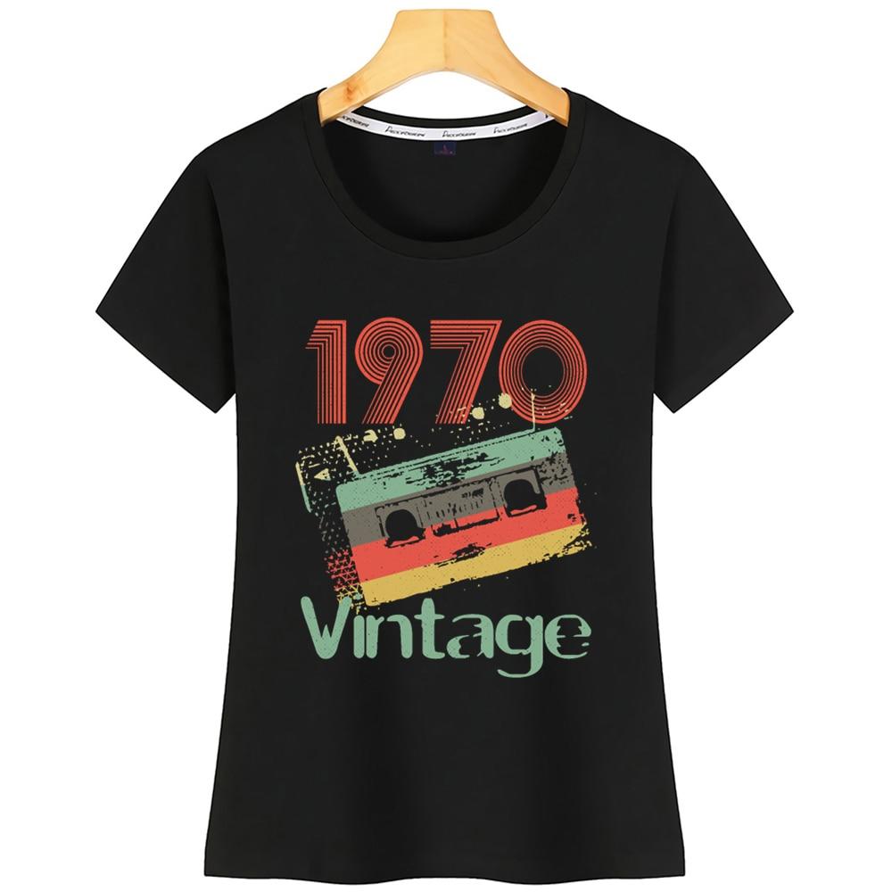 Tops T Shirt Women 1970 Vintage Mixed Tape 50th Birthday Basic Black Cotton Tshirt
