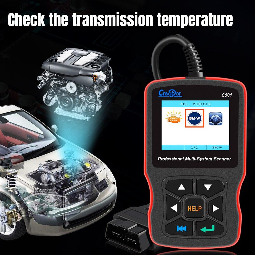 Creador C501 OBD 2 diagnóstico de coche para BMW e46 e39 e90 e60 escáner de diagnóstico lector de código AC EPS servicio de aceite restablecer EPB ABS Airbag - 4