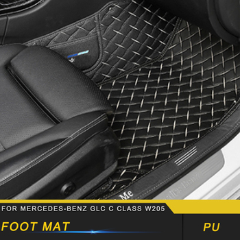 For Mercedes Benz C Class W205 2016-2019 Car Styling Leather Floor Protector Cover Mat Pad Carpet Interior Accessories