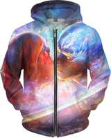 LBG 2019 new 3D printing cosmic star zipper hoodie men and women fashion pull hoodie outdoor gorgeous casual sweatshirt