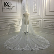 Amanda Design Long Luxury One Layer Glitter Tulle Veil with Comb