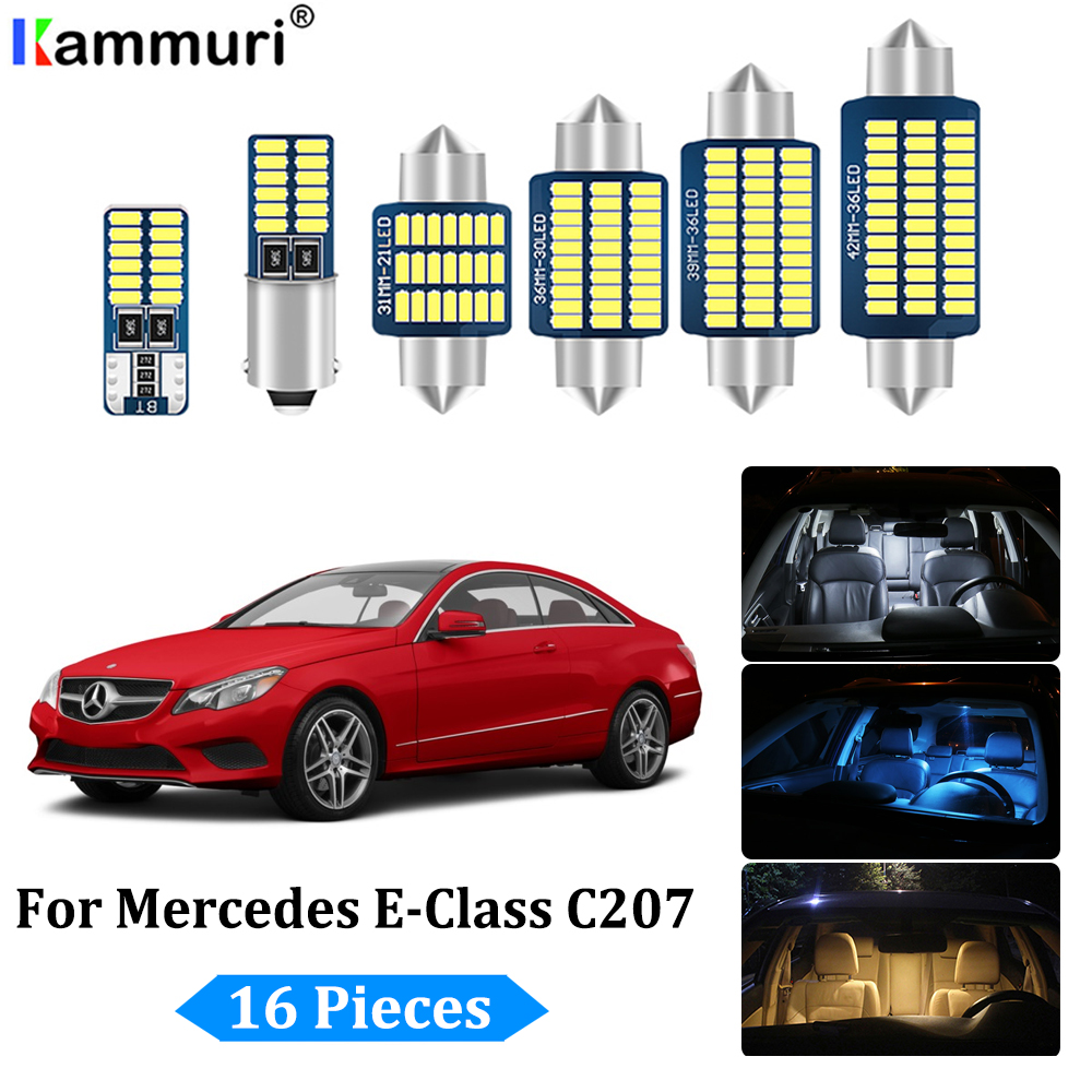 KAMMURI 16pcs LED bulb interior light Kit For <font><b>Mercedes</b></font> E class <font><b>Coupe</b></font> C207 E200 E220 E250 E260 <font><b>E300</b></font> E320 E350 E400 E500 E550 image