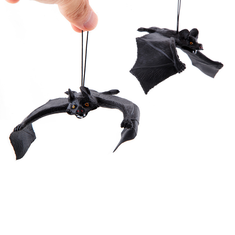 Hc6a718d3d8074778b9725fcdfb0c121aj - Halloween Simulation Animals Bats Trick Toy Halloween Decoration Horror House Bat Hanging Props Home Wall Window Decor