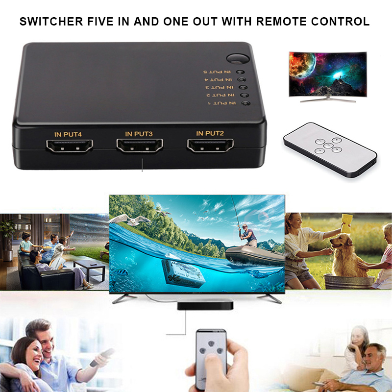 HDMI Switch 5 Input 1 Output 3d 5 Port 4k HDMI Switcher Selector Splitter With Hub IR Remote For HDTV DVD