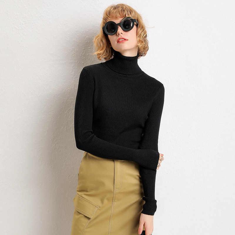 2019 otoño invierno nuevo grueso cuello alto pulóver simple salvaje suéter mujer bottoming suéter mujeres señoras