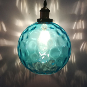 Image 5 - Современный стеклянный подвесной светильник в стиле лофт синего цвета, светодиодный винтажный скандинавский подвесной светильник E27 с 3 размерами для спальни, лобби, ресторана, офиса