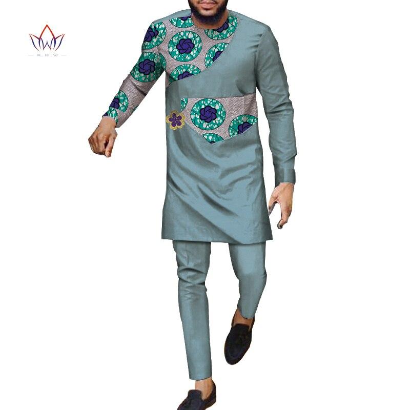 Automne africain hommes pantalon ensemble haut traditionnel et pantalon ensemble Dashiki africain cire imprimé vêtements grande taille pantalon costumes WYN983