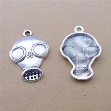 100 pçs/lote antigo prata antigas máscara encantos 20x28mm anti-gás máscara encantos para fazer jóias