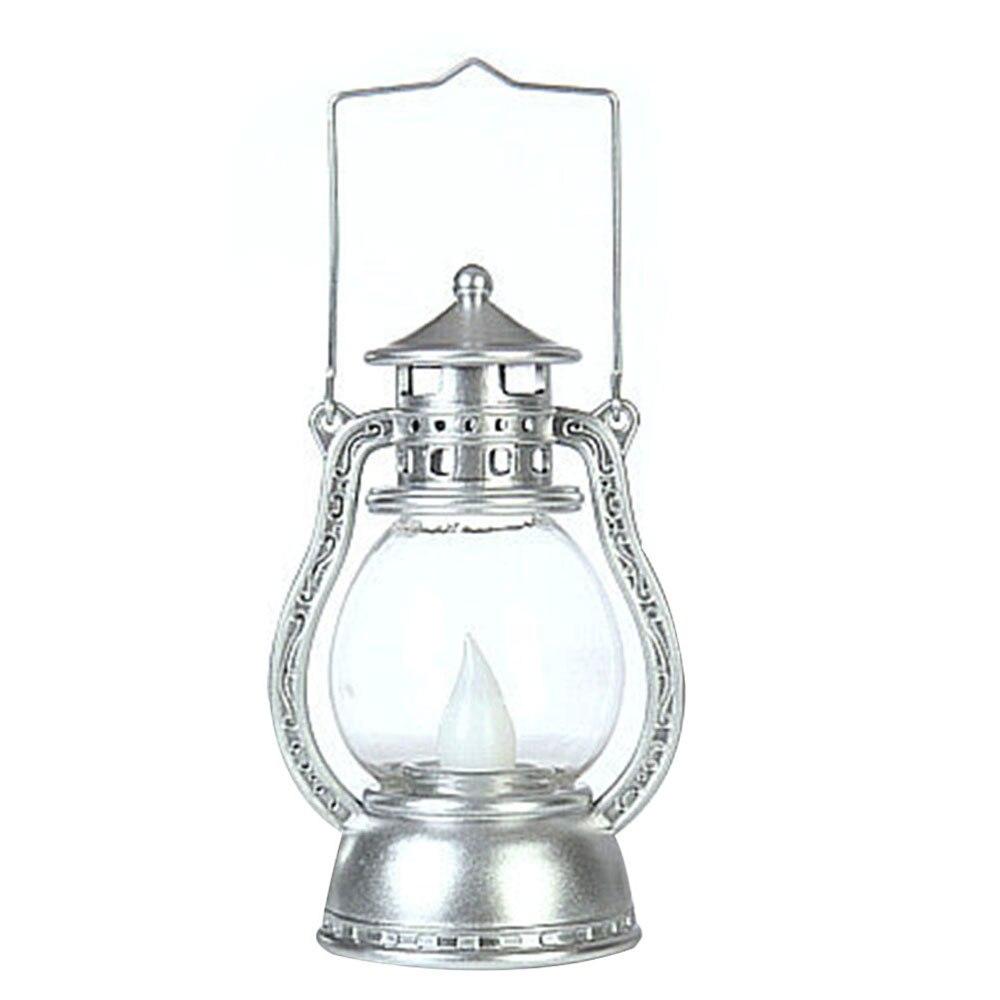 Подвесная лампа на Хэллоуин Светодиодный фонарь Мерцающая электронная беспламенная винтажная портативная лампа креативный дом с привидениями - Испускаемый цвет: Silver