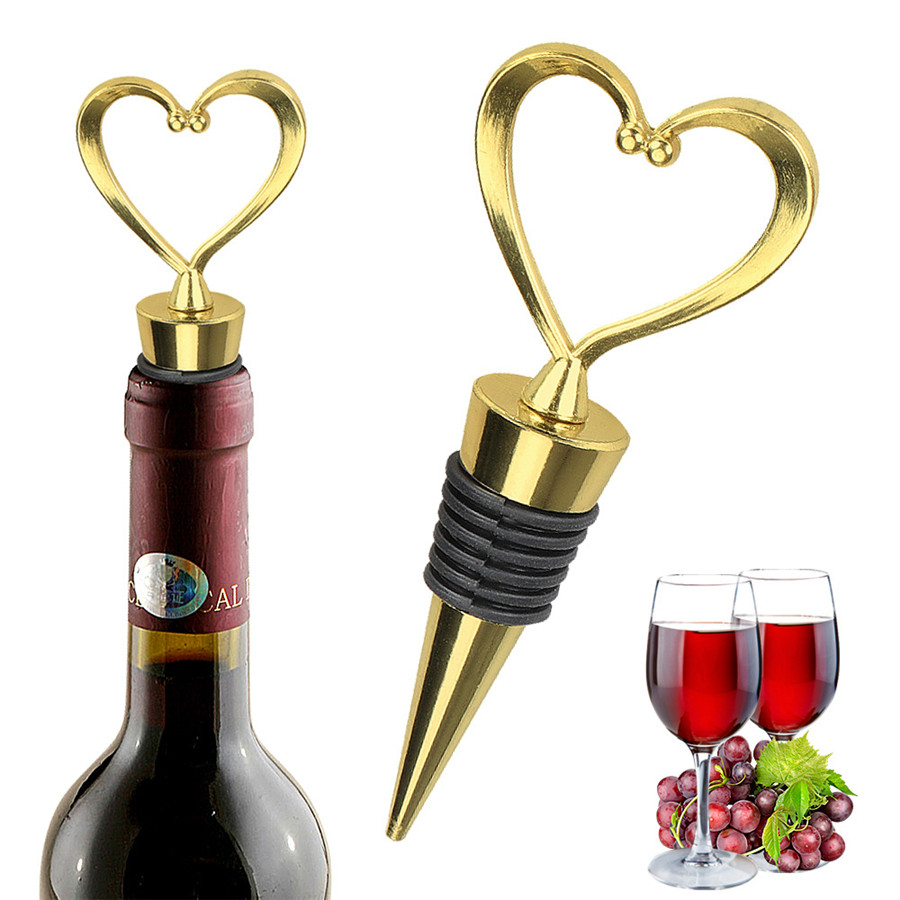 Silicone Wine Stopper Vacuum Sealed Bottle Stoppers Metal Heart Shape Stopper Storage Twist Cap Plug Party Gift Bar Accessories in Other Bar Tools from Home Garden