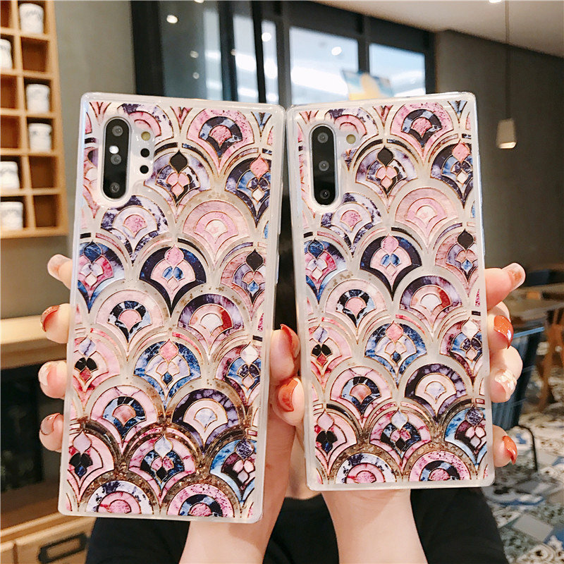 Marble Liquid Sand Phone Case for Coque Samsung S20 Ultra S8 S9 S10 S20 Plus Note 10+ 8 9 S10E Etui Soft Glitter Quicksand Cover