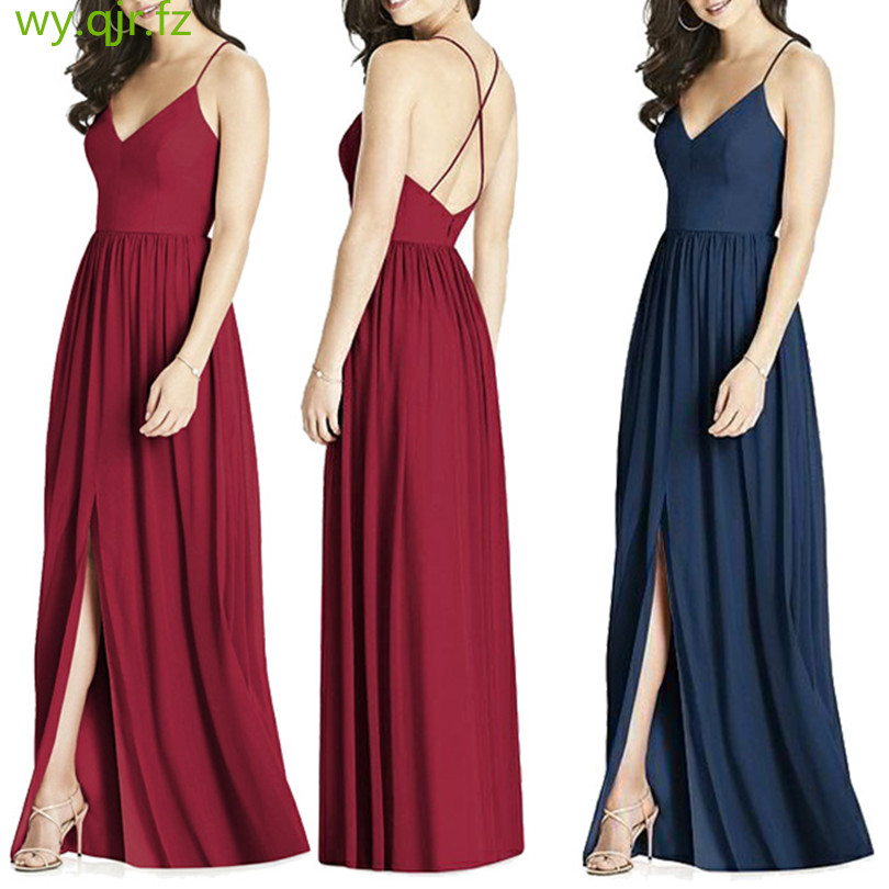 CD1686#V Collar Spaghetti Strap Slit Bridesmaid Dresses Sexy Long Wine Red And Blue Black Satin Bride Party Dress Girl Wholesale