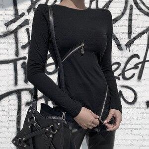 Image 4 - מוצק צבע סדיר רוכסן למעלה לנשים של כהה סתיו/חורף ארוך שרוול