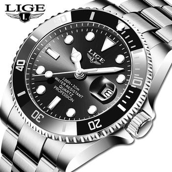 2021 nowy LIGE męskie zegarki moda biznes wodoodporny zegarek kwarcowy mężczyźni Top marka luksusowy zegarek sportowy ze stali nierdzewnej mężczyzna tanie i dobre opinie 22cm QUARTZ 3Bar Składane bezpieczne zapięcie CN (pochodzenie) STAINLESS STEEL 12mm Hardlex Kwarcowe zegarki Papier 42mm
