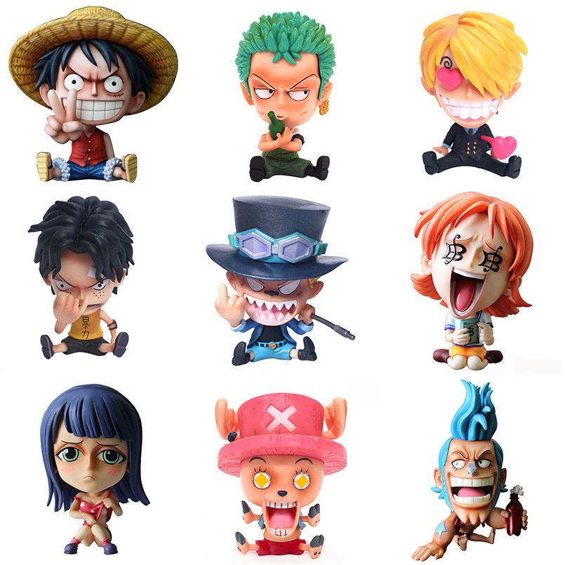 Q Version Japanese Anime One Piece Roronoa Zoro Luffy Sanji BROOK Nami Franky Chopper PVC Action Figure Toys Car Decoration Toys