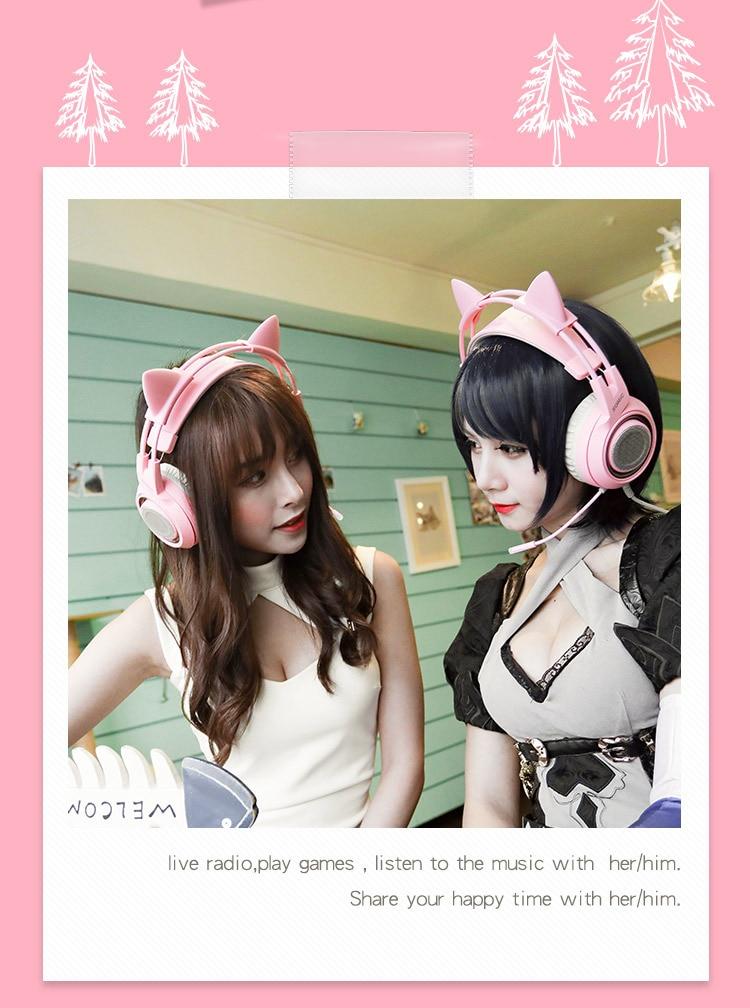 Cabeza montada 7,1 canal ancla gameing gato oreja auricular Rosa Lindo juego auriculares - 6
