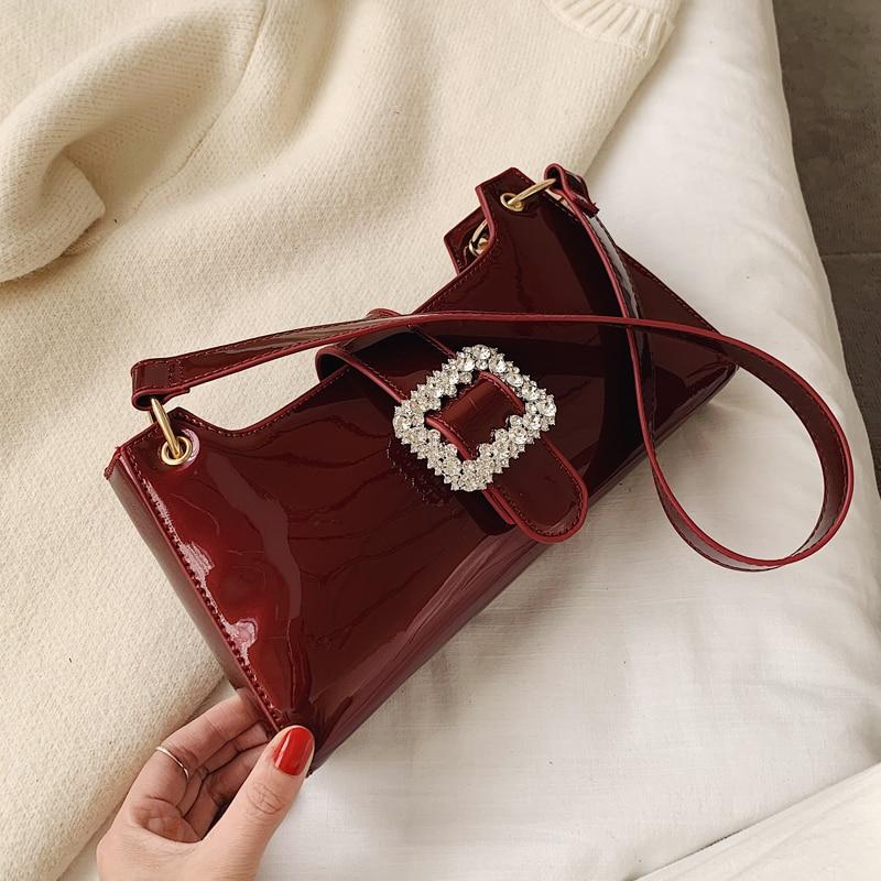 Elegant Female Tote Bag 2020 Fashion New Quality Patent Leather Women's Designer Handbag Diamond Lock Portable Shoulder Bags