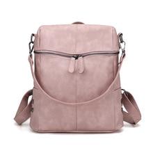 Fashion Women Backpack Quality Leather School Bags For Teenager Girls Large Vintage Solid Shoulder