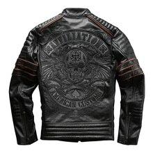 Купить с кэшбэком harley motorcycle 2016 genuine cowhide leather skull mens slim short leather jacket