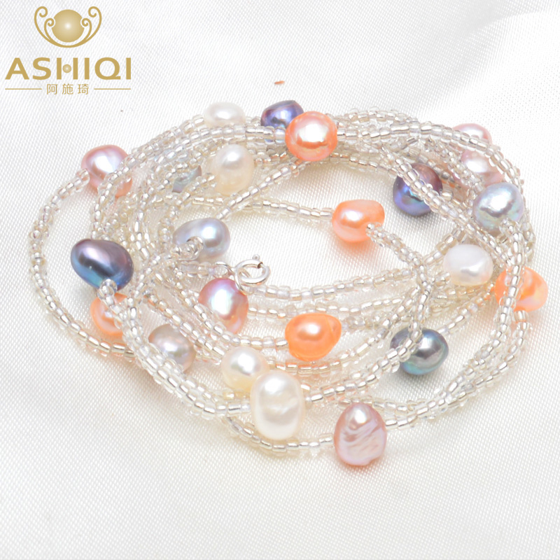 ASHIQI Natural Freshwater Baroque Pearl Bracelets & Bangles For Women 925 Sterling Silver Clasp Crystal Beads Jewelry