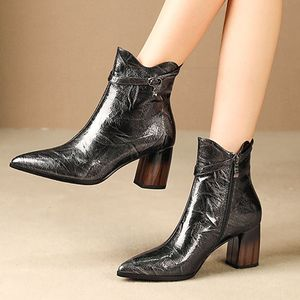 Image 2 - ALLBITEFO fashion brand high heels ankle boots for women genuine leather pointed toe thick heel winter snow boots women boots