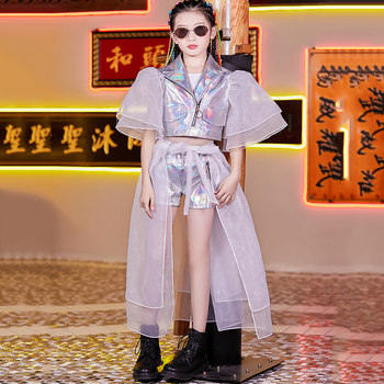 Kid Hip Hop Costumes Silver Girls Modern Jazz Fashion Models T Show Performance Clothing Street Dance Outfit Stage Wear DNV12318