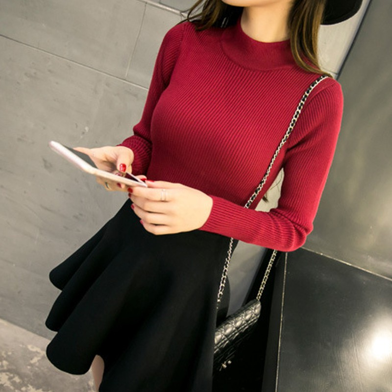 2020 New Arrival Autumn Winter Slim Solid Color Women Sweater Fashion Sexy Turtleneck Bottoming Shirt Long Sleeve Knit Pullover