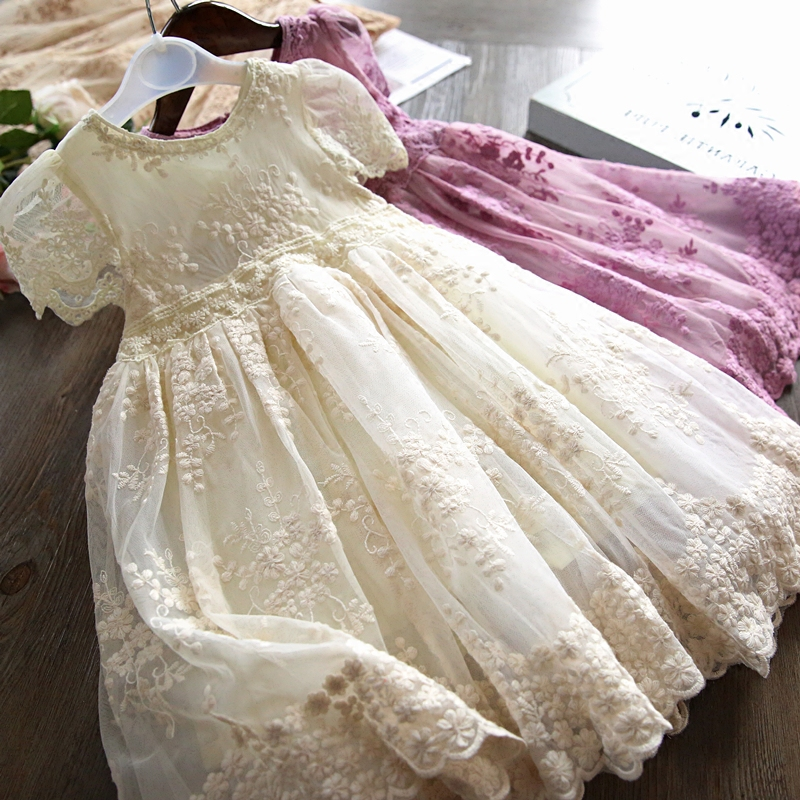 Party Dresses For Kids Girls Lace Embroidery Princess Baby Girl Clothes Summer Children Casaul Wear Tutu Girl Clothing 3-8 Years