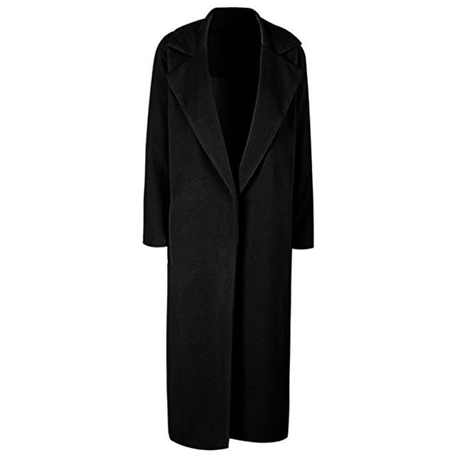 Winter Women Trench Coat Casual Lapel Collar Open Stitch Woolen  Female Coat Fashion Warm Pocket Solid Plus Size Long Outwear 5