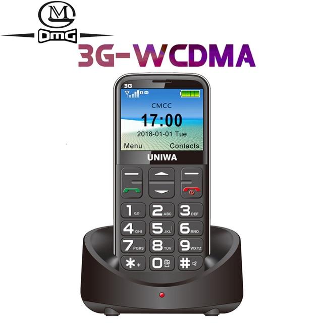 """Wcdma 3G Russische Toetsenbord Oude Man Mobiele Telefoon Sos Knop 1400Mah Batterij 2.31 """"Cellphone Zaklamp Torch Mobiele telefoon Ouderen"""