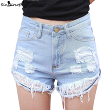 Summer Casual Hole Lace Denim Shorts For Women Patchwork Flower Tassel Sexy High Waist Shorts Blue Ripped Jeans Short Female vintage blue denim shorts women elastic high waist shorts summer casual ripped hole slim jean shorts clothing 2019