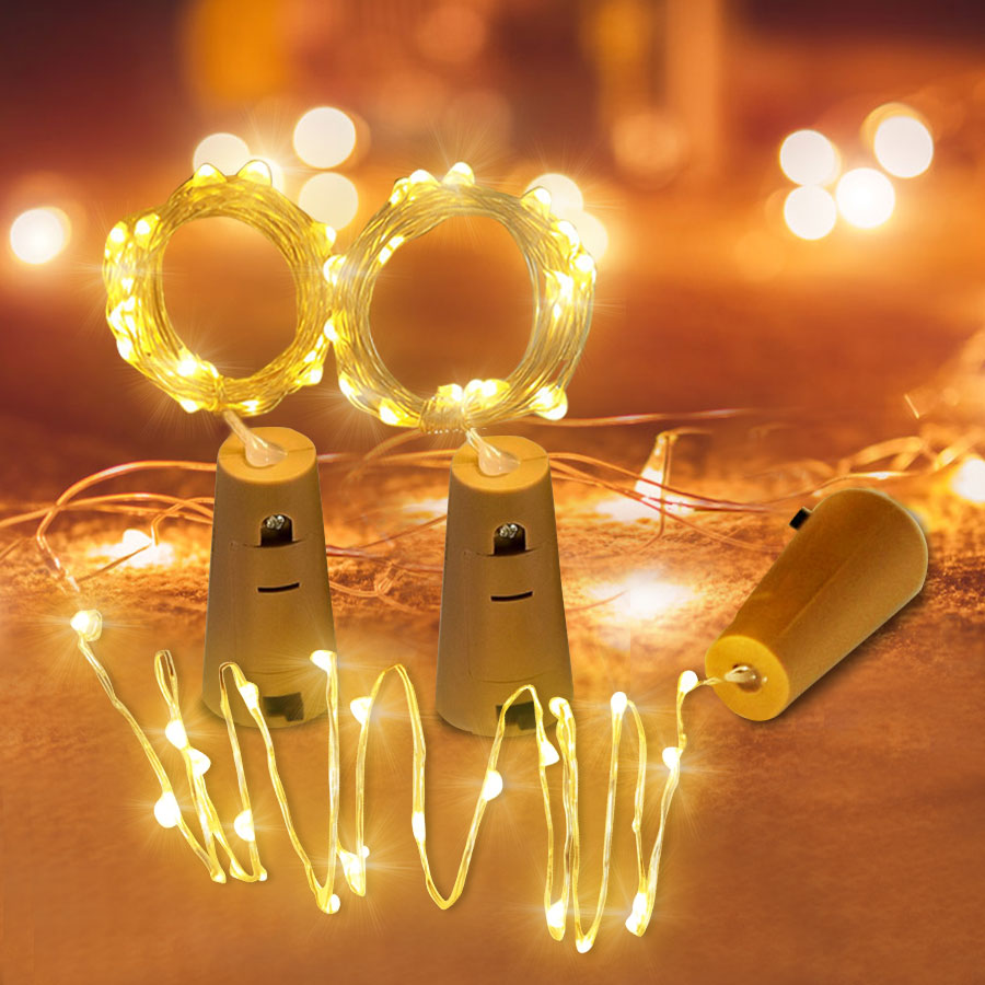 2M 20 LED Wine Bottle Lights With Cork Copper Wire Battery Powered Garland Colorful Fairy Lights String For Party Wedding Decor