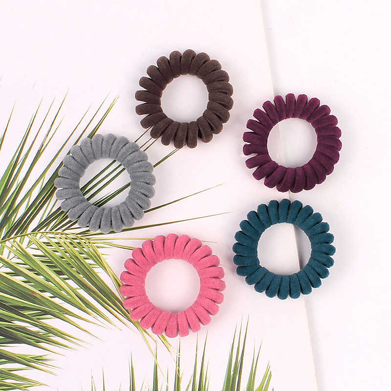 1PC Elastic Hair accessories Ring Scrunchies Flannel Cloth Telephone Wire Spiral Elastic Hair Rope Ties Rubber Band Scrunchy