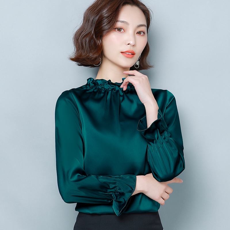 Korean Silk Shirts Women Long Sleeve Satin Blouses Solid Shirts Plus Size Blusas Femininas Elegante Blusas Mujer De Moda 2020