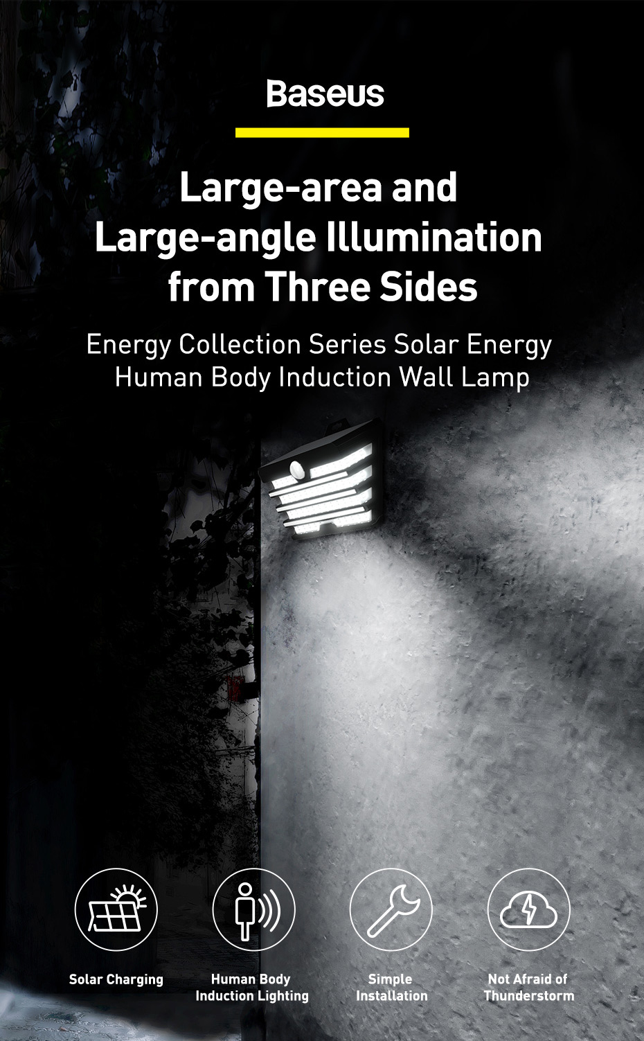 BASEUS ENERGY SOLAR LED LIGHT OUTDOOR WALL LAMP 5