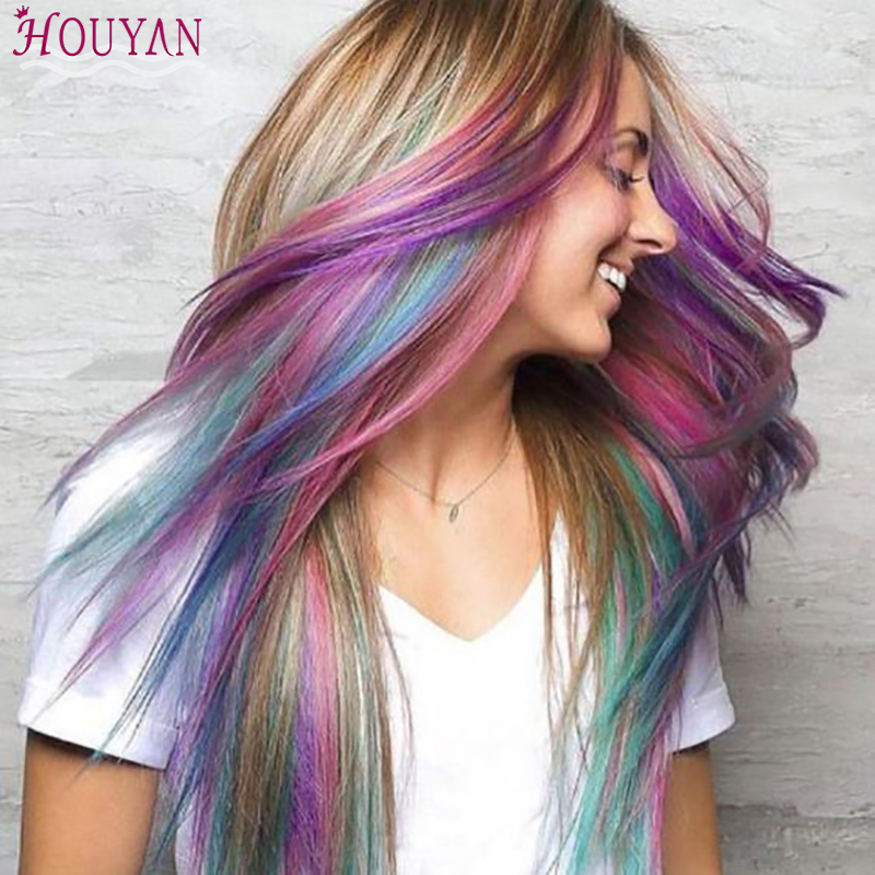 "22"" Long Straight Hairpiece Colored Highlight Synthetic Hair Extensions Clip In One Piece Color Strips Hair Accessories HOUYAN"