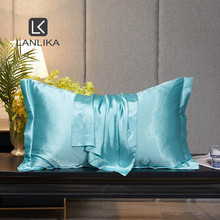 Lanlika Luxury 100% Silk Light Blue Beauty Pillowcase Healthy Bed Pillow Case Pillow Cover For Women Home Textile Free Shipping