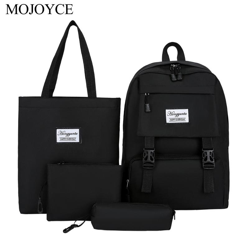4pcs/set Nylon Women Large Backpack College Student Shoulder Clutch Pen Bag Laptop Holiday Large Capacity Bags Dropshipping