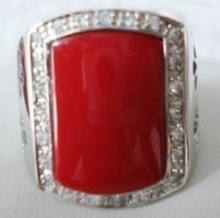 +++ shipping> >>>Exquisite red coral silver men s ring yujvi(China)