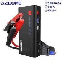AZDOME dispositif de démarrage XT01 800A 18000mAh (6.5L Gaz ou 5.5L Moteur Diesel) Batterie Externe Charge Rapide Lampe De Poche LED Démarreur de SAUT