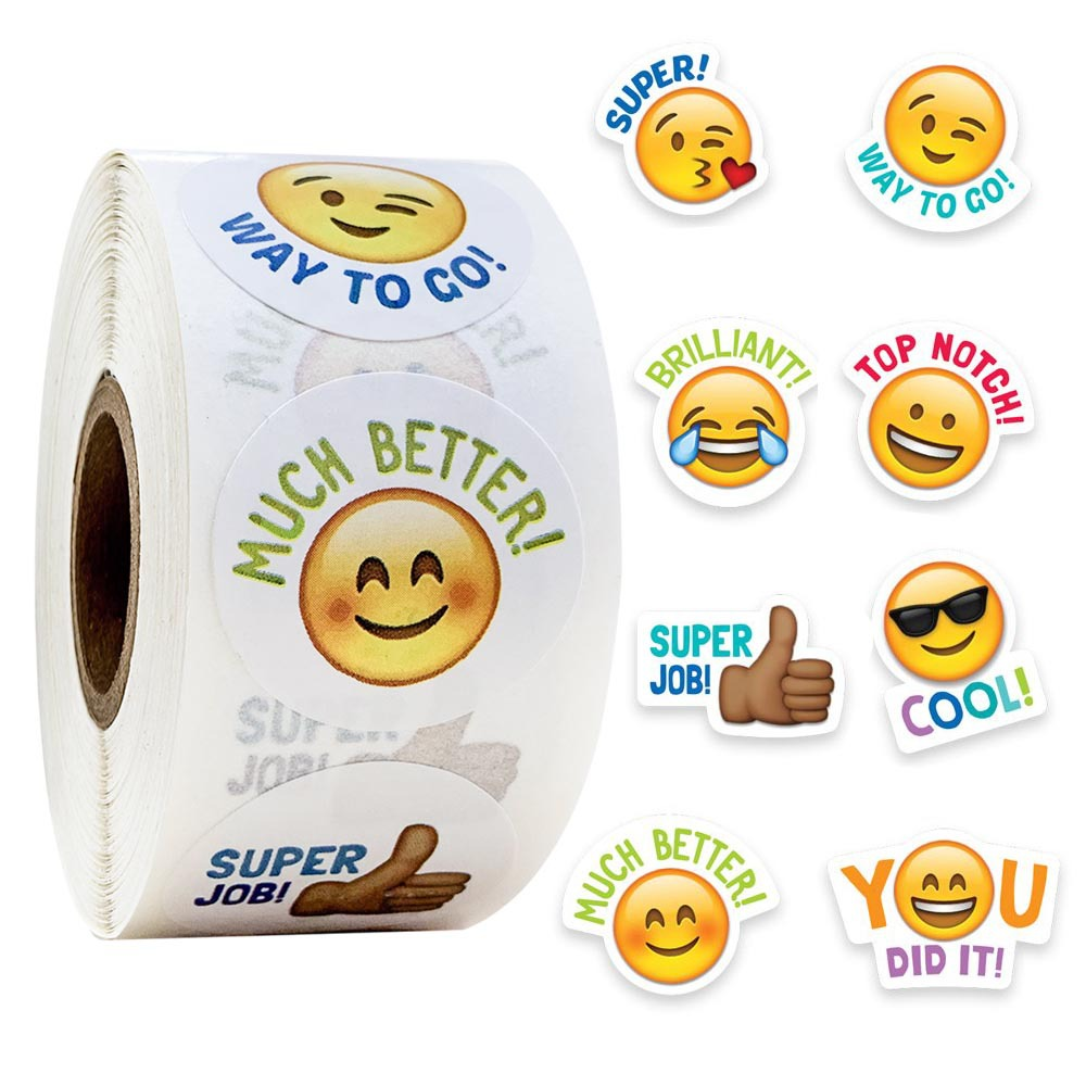 500pcs/roll Cute Stickers Journal Scrapbooking Smiley Face Good Job Teacher Reward Sticker For Student Stationery Supply