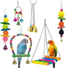 EASY-6 Pack Bird Swing Toys-Parrot Hammock Bell Toys For Budgie,Parakeets, Cockatiels, Conures And Love Birds(China)