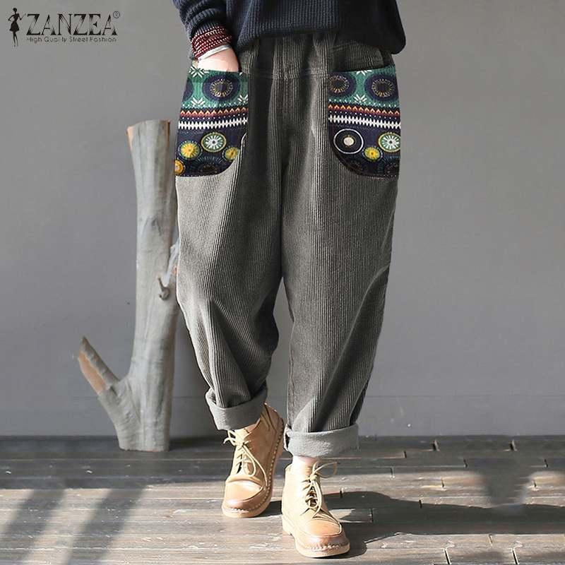 Stylish Corduroy Pants Women's Printed Trousers 2020 ZANZEA Casual Elastic Waist Long Pantalon Female Autumn Trousers Plus Size