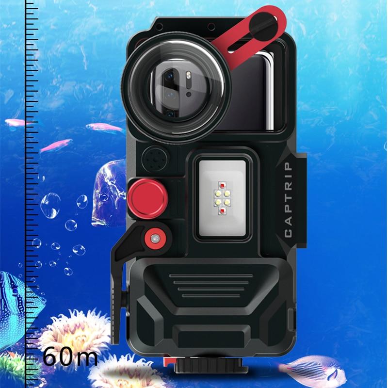 In lega di alluminio Caso di Immersione Per Huawei P6 P7 P8 P9 P10 P20 P30 Lite Plus pro mini Copertura subacquea Impermeabile fotografia - 3