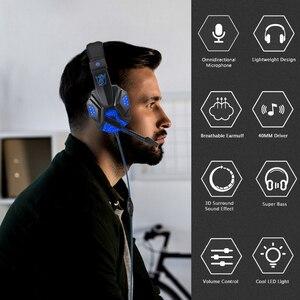 Image 4 - Profesyonel Led ışık bas oyun için mikrofon ile kablolu kulaklık anahtarı PS4 bilgisayar üzerinde oyun kulaklıklar için XBox PC