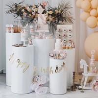 Elevador redondo de 5 uds., expositor de hierro blanco, fiesta, Pedestal, boda