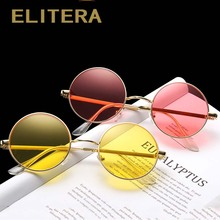 ELITERA New Vintage Men Women Round Metal Sunglasses UV400 Men's
