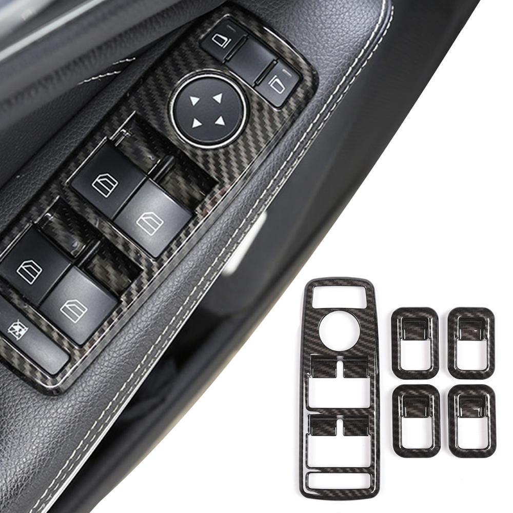 5 adet karbon ABS pencere kaldırma anahtarı düğmesi çerçeve Trim için mercedes-benz A B C E GLE GLA CLA GLK sınıfı W176 W204 W212 W166 W218